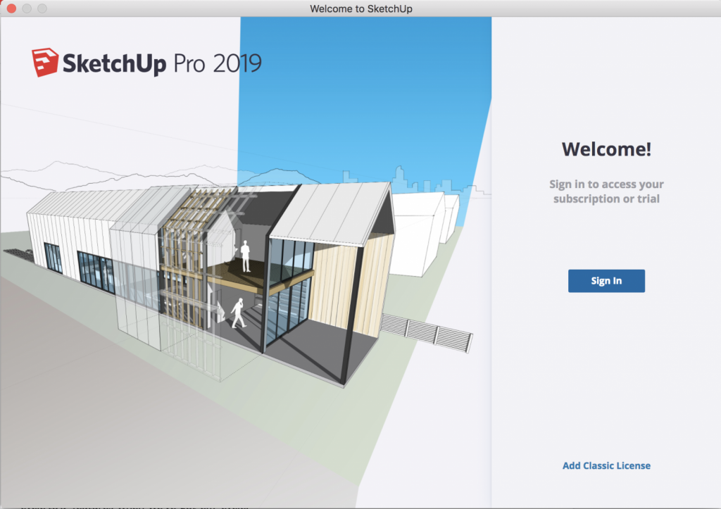 SketchUp Pro 2019 New Welcome Screen